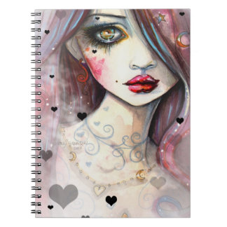 Gothic Girl With Hearts Art Spiral Notebooks