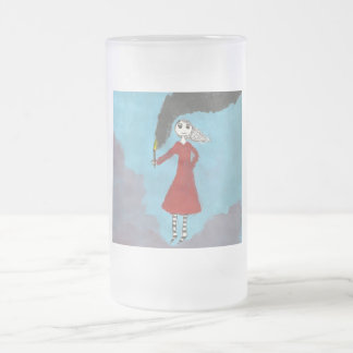 gothic girl with torch 16 oz frosted glass beer mug