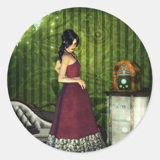 Gothic Girls A Quiet Evening Steampunk Classic Round Sticker