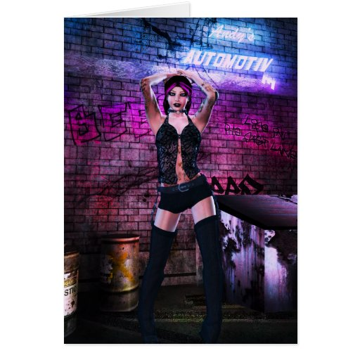 Gothic Girls Back Alley Babe Greeting Card