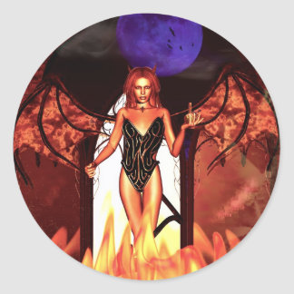 Gothic Girls Deal With The Devil Classic Round Sticker