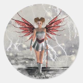 Gothic Girls Last Angel Standing Classic Round Sticker
