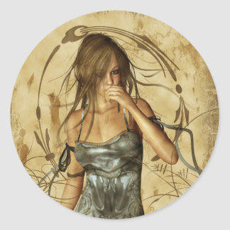 Gothic Girls Lost in Thought Classic Round Sticker