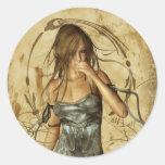 Gothic Girls Lost in Thought Round Sticker