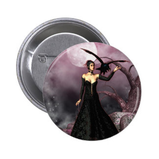 Gothic Girls Red Witch fantasy button