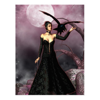 Gothic Girls Red Witch fantasy postcard