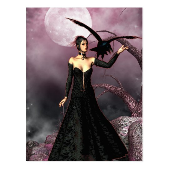 Gothic Girls Red Witch fantasy postcard