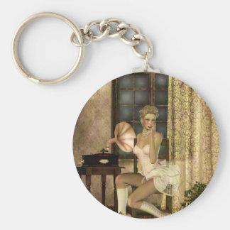 Gothic Girls Romantic Glow Steampunk fantasy Keychain
