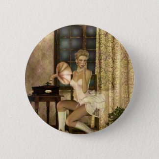 Gothic Girls Romantic Glow Steampunk fantasy Pinback Button