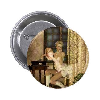 Gothic Girls Romantic Glow Steampunk fantasy Pinback Button