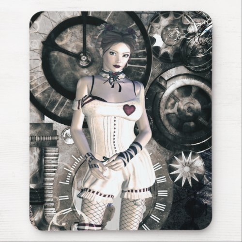 Gothic Girls Steampunk At Heart mousepad