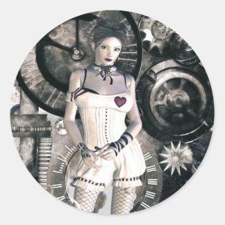 Gothic Girls Steampunk At Heart Classic Round Sticker
