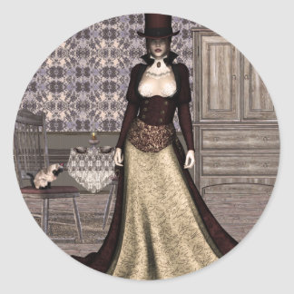 Gothic Girls Tea For Two Steampunk Classic Round Sticker