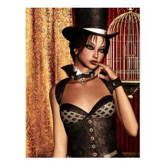 Gothic Girls The Birdcage Steampunk Postcard