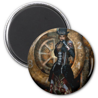 Gothic Girls Time To Spare Steampunk 2 Inch Round Magnet