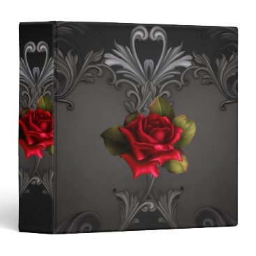 Aztec Themed Gothic Glamour Red Rose Black Ornamental Glam 3 Ring Binder