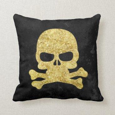 Halloween Themed Gothic Gold Faux Glitter Skull & Cross Bones Throw Pillow
