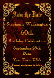 60th birthday save the date gifts on zazzle gothic gold framed 60th birthday save the date card bookmarktalkfo Gallery