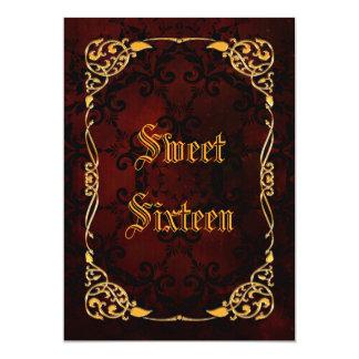 Gothic Gold Framed Sweet 16 Card