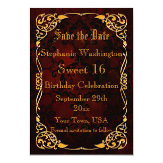 Gothic Gold Framed Sweet 16 Save The Date Card