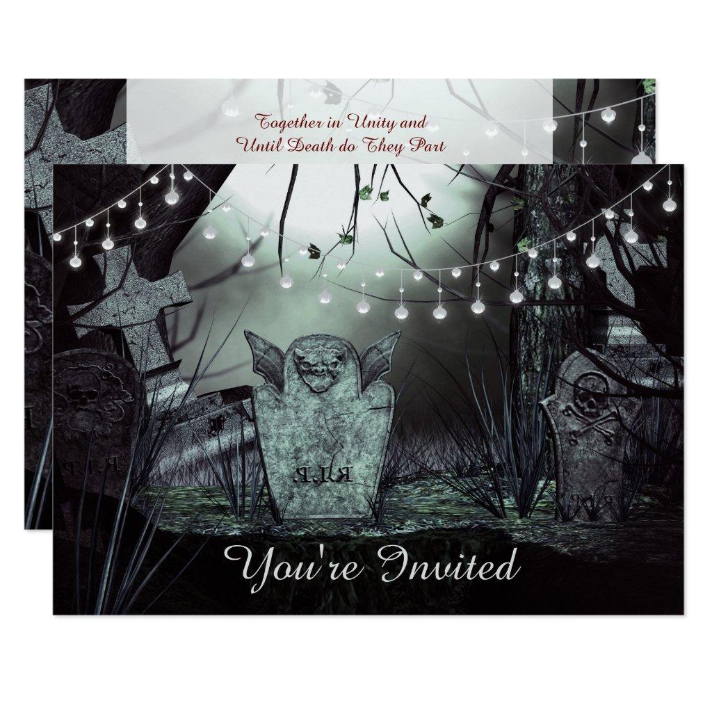Gothic Graveyard, Enchanting Lights Wedding Invite