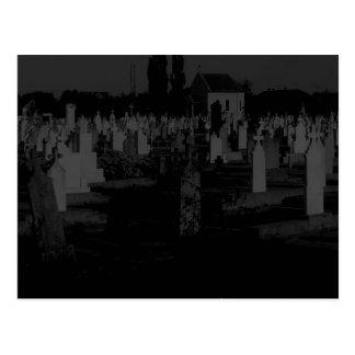 Gothic Graveyard  Halloween Cemetery Tombstones Postcard