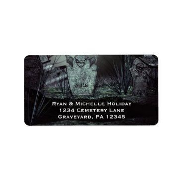 Halloween Themed Gothic Graveyard RIP Gravestones Cemetery Address Label