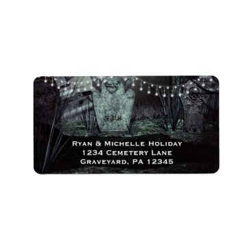 Halloween Themed Gothic Graveyard with Charming Lights Label