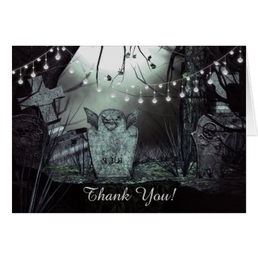 Halloween Themed Gothic Graveyard with Charming Lights Thank You Card