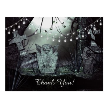 Halloween Themed Gothic Graveyard with Charming Lights Thank You Postcard