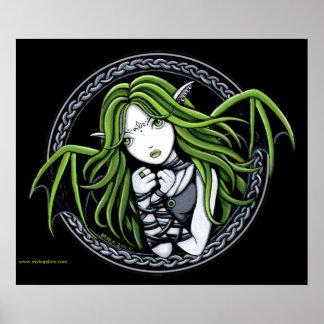 Gothic Green Bat Fairy Art Poster