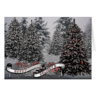 Gothic Greeting Cards- Winter Tree Banner Card