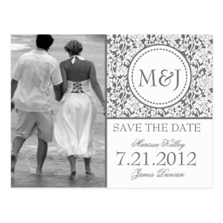 Gothic Grey on White Flourish Save the Date Post Card