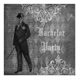 Gothic Groom Skeleton Shabby Chic Bachelor Party 5.25x5.25 Square Paper Invitation Card