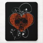 Gothic Grunge Broken Heart Skull Mouse Pad