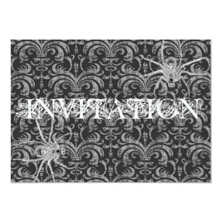 Gothic Grunge Damask Party Red & Black w/ Spiders Card