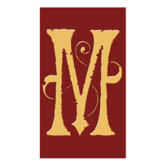 Gothic Grunge Red Gold Initial M Monogram Business Card