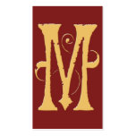 Gothic Grunge Red Gold Initial M Monogram Business Cards