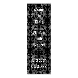 Gothic grunge save the date mini book markers business cards