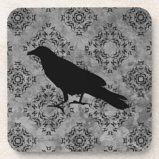 Gothic Halloween black crow raven on gray Drink Coaster