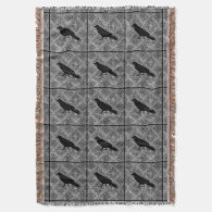 Gothic Halloween black crow raven on gray Throw