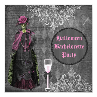 Gothic Halloween Bride Shabby Chic Bachelorette 5.25x5.25 Square Paper Invitation Card