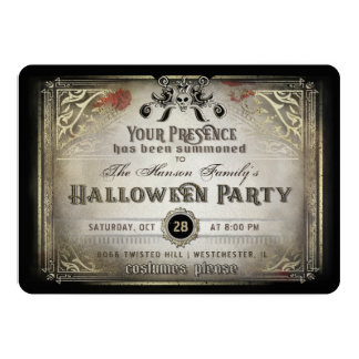 Gothic Halloween Elegance Party Black & Gold Skull Card