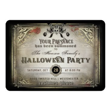 Halloween Themed Gothic Halloween Elegance Party Black & Gold Skull Card