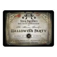 Gothic Halloween Elegance Party Black & Gold Skull Invitation