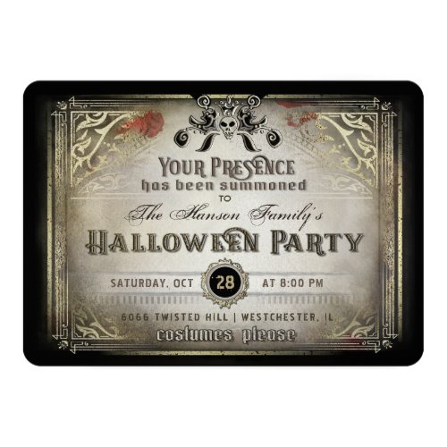 Gothic Halloween Elegance Party Black  Gold Skull Invitation