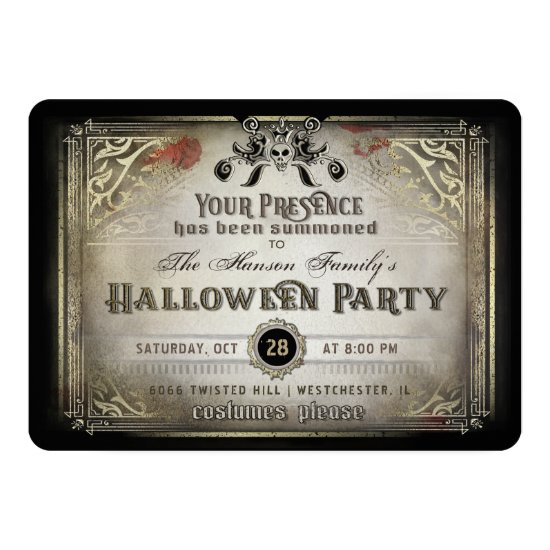 Gothic Halloween Elegance Party Black & Gold Skull Invitation