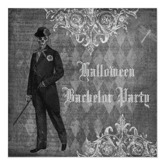 Gothic Halloween Groom Shabby Chic Bachelor Party 5.25x5.25 Square Paper Invitation Card