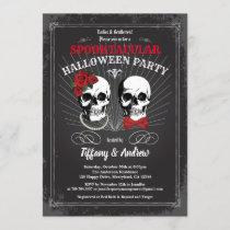 Gothic halloween party invite. Black red white Invitation