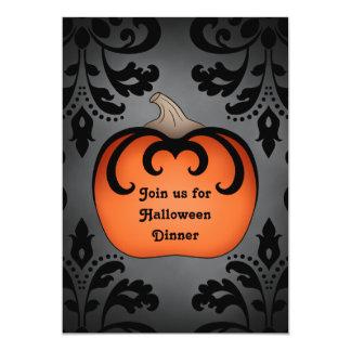 Gothic Halloween pumpkin on elegant damask Card